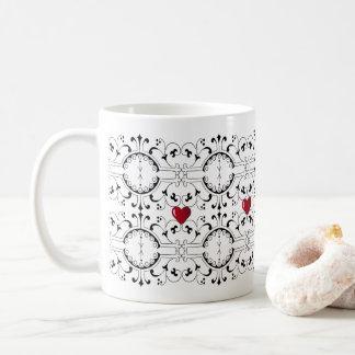 Vintage Scroll and Heart Pattern Coffee Mug