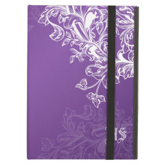 Vintage Scroll Custom Initials Purple iPad Air Case