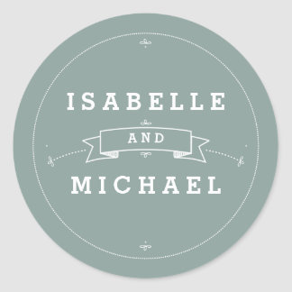 Vintage Scroll in Bride & Groom Wedding Sticker