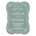 Vintage Scroll Wedding Invitation   Green