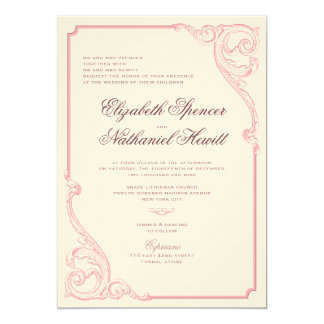Vintage Scrolls Wedding Invitation in Dusty Rose