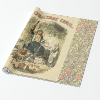 Vintage Scrooge Ghost of Christmas Present Wrapping Paper