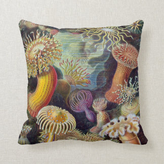 Vintage Sea Anemones Throw Pillow