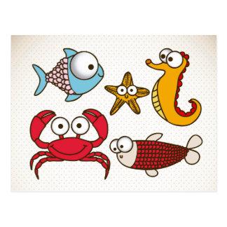 Vintage Sea Animals Postcard