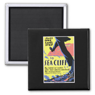 Vintage Sea Cliff Square Magnet