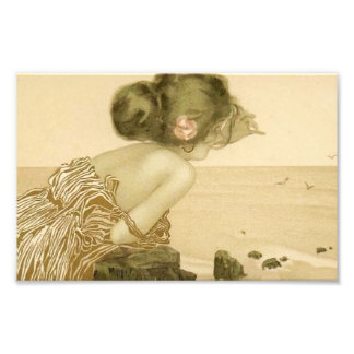 Vintage Sea Girl With Pink Rose Print Photographic Print