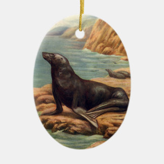 Vintage Sea Lion by the Seashore, Marine Mammals Ceramic Ornament