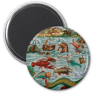 Vintage Sea Monsters 2 Inch Round Magnet