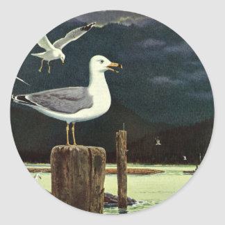 Vintage Seagull Perched Pier, Marine Birds Animals Classic Round Sticker