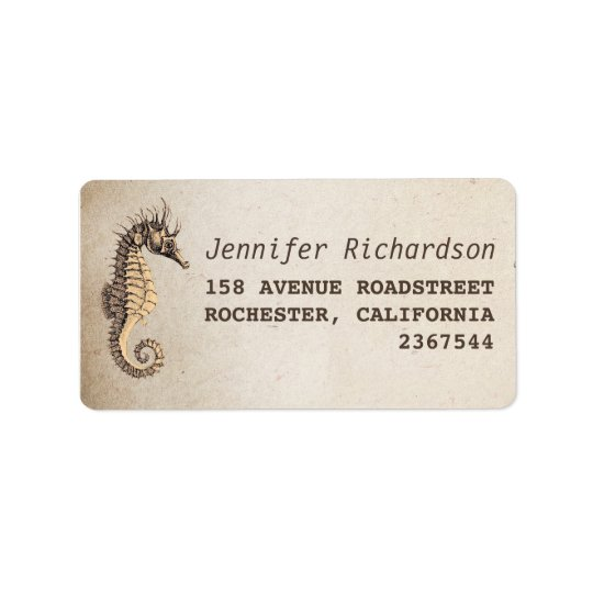 vintage seahorse address labels