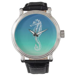 Vintage Seahorse Blue Aqua Beach Watch