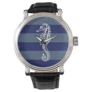 Vintage Seahorse Blue Navy Beach Watch