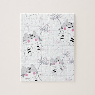 Vintage seamless cute cat blue grey pastel kitty jigsaw puzzle