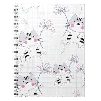Vintage seamless cute cat blue grey pastel kitty spiral notebook