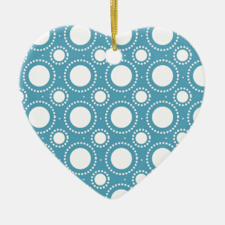 Vintage Seamless Polka Dot Pattern Ceramic Heart Ornament
