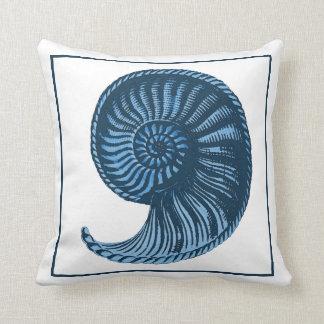 Vintage Seashell Blue No. 3 Pillow