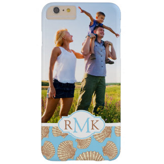 Vintage Seashell Pattern| Your Photo & Monogram Barely There iPhone 6 Plus Case