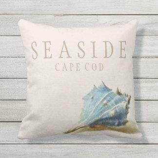 Vintage Seashell Seaside Beach House Outdoor Outdoor Pillow