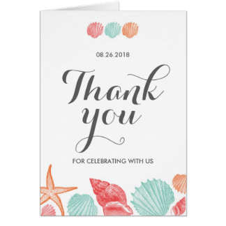 Vintage Seashell Thank you Note Card Beach Wedding