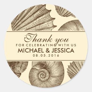 Vintage Seashell Wedding Favour Thank You Sticker
