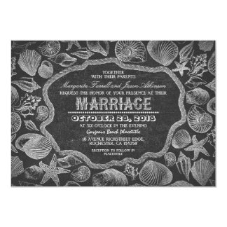 vintage seashells black beach wedding invites