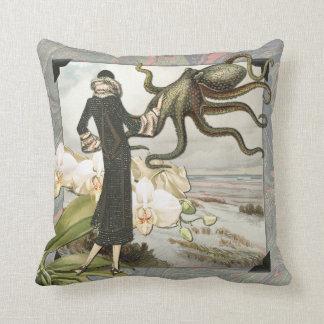 Vintage Seaside Collage Throw Pillow