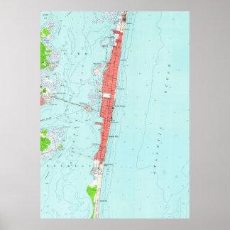 Vintage Seaside Heights NJ Map (1953) Poster
