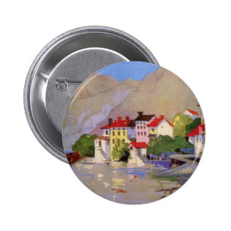 Vintage Seaside Village Italy Tourism 2 Inch Round Button