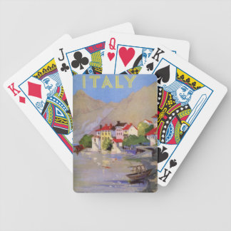 Vintage Seaside Village Italy Tourism Bicycle Playing Cards
