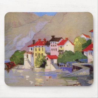 Vintage Seaside Village Italy Tourism Mouse Pad