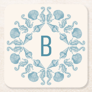 Vintage Seaside Wreath Square Paper Coaster