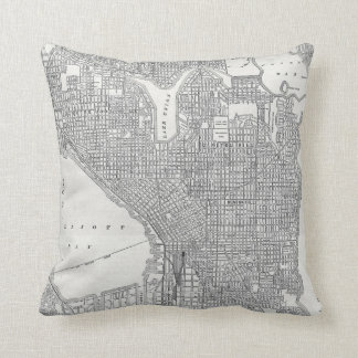 Vintage Seattle Map Throw Pillow