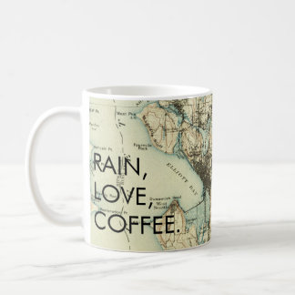 Vintage Seattle Rain Love Coffee Coffee Mug