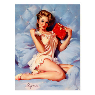 Vintage Secret Diary Gil Elvgren Pin Up Girl Postcard