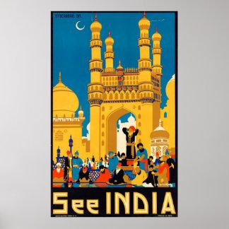 Vintage See India Travel Poster by G.D.Deuskar