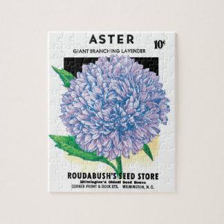 Vintage Seed Packet Art, Purple Aster Flowers Jigsaw Puzzle