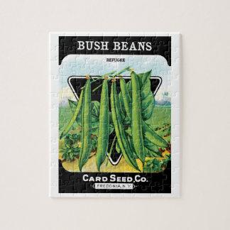 Vintage Seed Packet Label Art, Bush Bean Veggies Puzzle