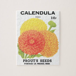 Vintage Seed Packet Label Art, Calendula Flowers Puzzles