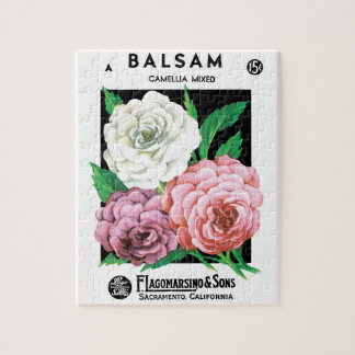 Vintage Seed Packet Label Art, Camellia Flowers Jigsaw Puzzle