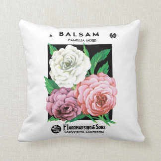 Vintage Seed Packet Label Art, Camellia Flowers Throw Pillow