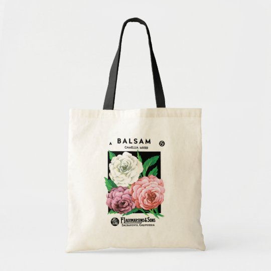 Vintage Seed Packet Label Art, Camellia Flowers Tote Bag