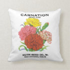Vintage Seed Packet Label Art, Carnation Flowers Throw Pillow