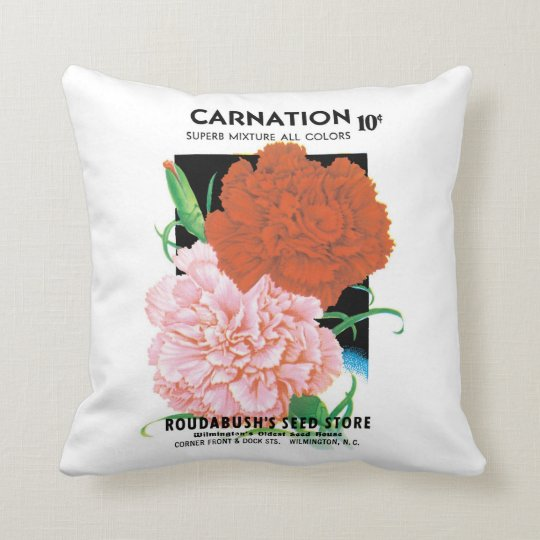 Vintage Seed Packet Label Art, Carnations Flowers Throw Pillow