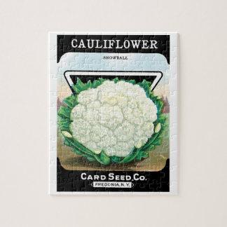 Vintage Seed Packet Label Art, Cauliflower Veggies Jigsaw Puzzle