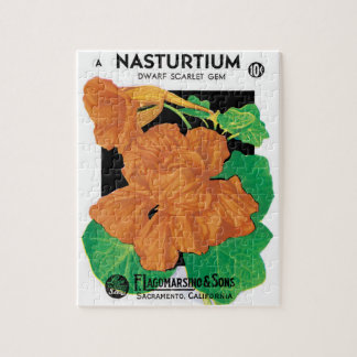 Vintage Seed Packet Label Art, Nasturtium Flowers Jigsaw Puzzle