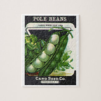Vintage Seed Packet Label Art, Pole Lima Beans Jigsaw Puzzle