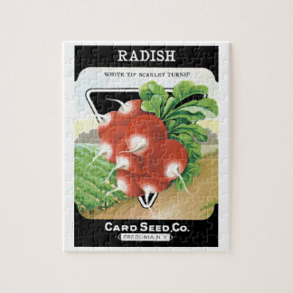 Vintage Seed Packet Label Art, Scarlet Radishes Jigsaw Puzzle