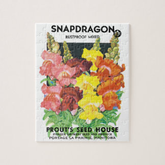 Vintage Seed Packet Label Art, Snapdragon Flowers Jigsaw Puzzle