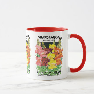 Vintage Seed Packet Label Art, Snapdragon Flowers Mug