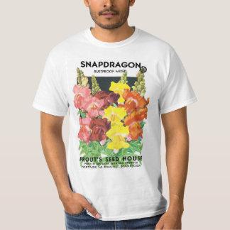 Vintage Seed Packet Label Art, Snapdragon Flowers T-Shirt